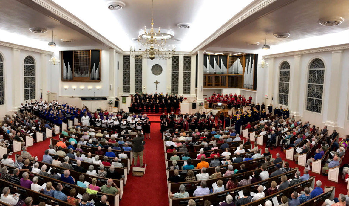 Members and guests attend a choral festival held at Morrison United Methodist Church. (Morrison United Methodist Church photo/Terri Hester)